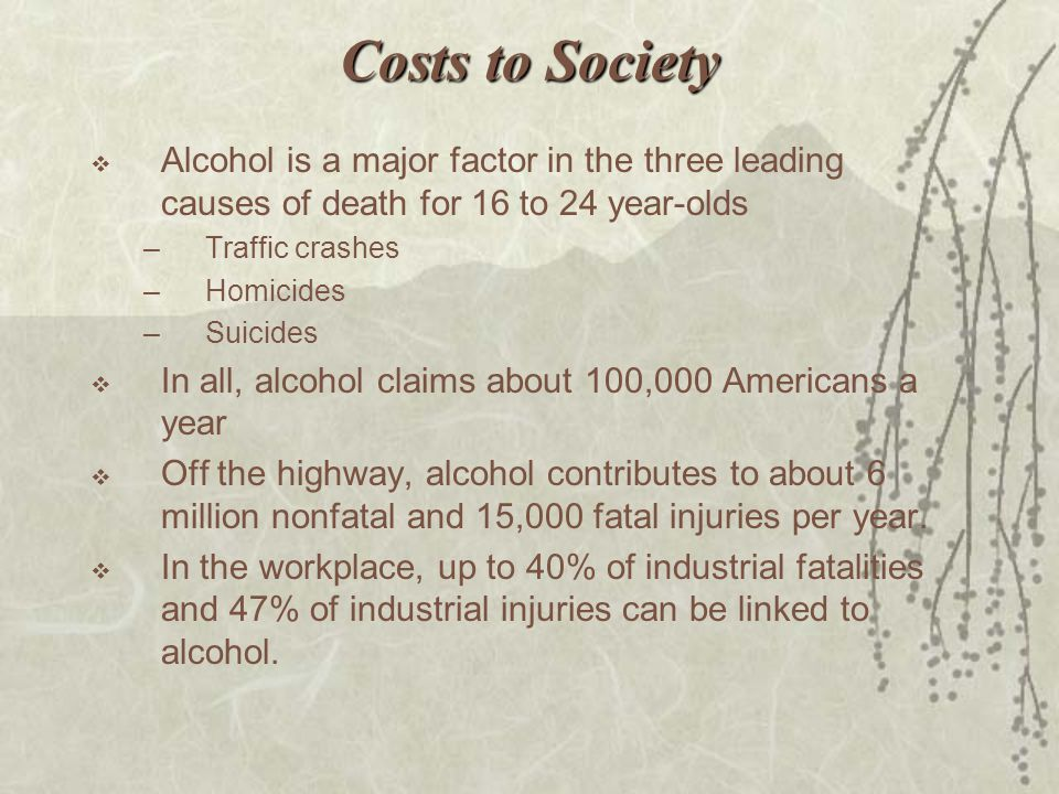 Costs to Society Alcohol is a major factor in the three leading causes of death for 16 to 24 year-olds.