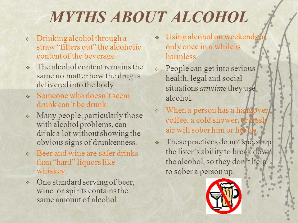 MYTHS ABOUT ALCOHOL Using alcohol on weekends or only once in a while is harmless.