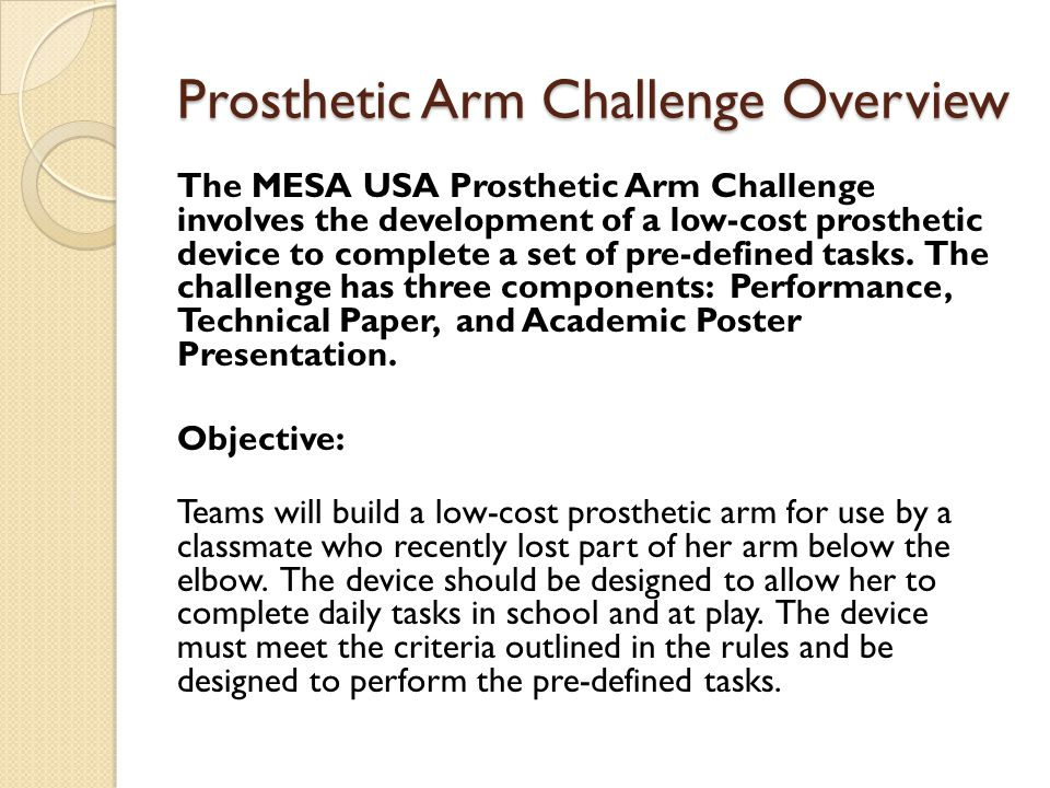Prosthetic Arm Challenge Overview