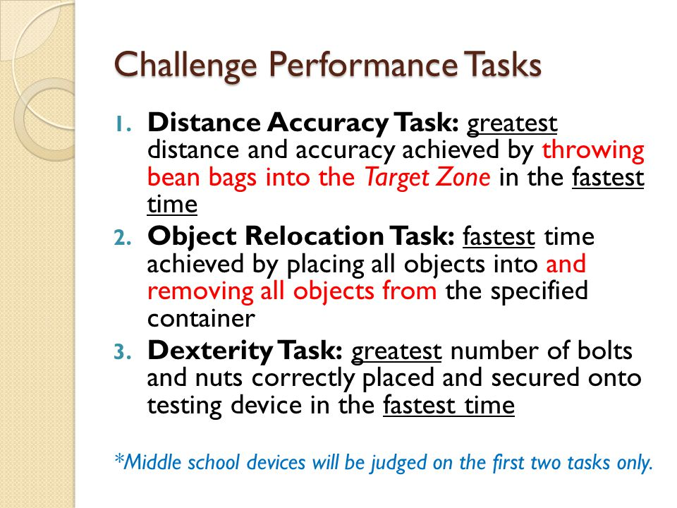 Challenge Performance Tasks