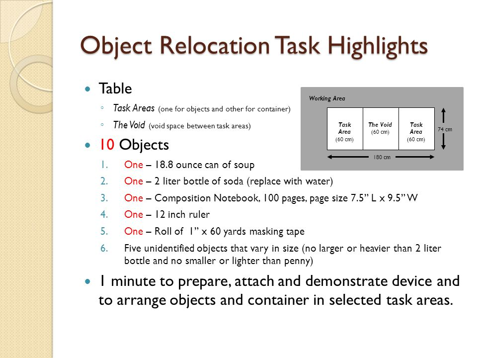 Object Relocation Task Highlights