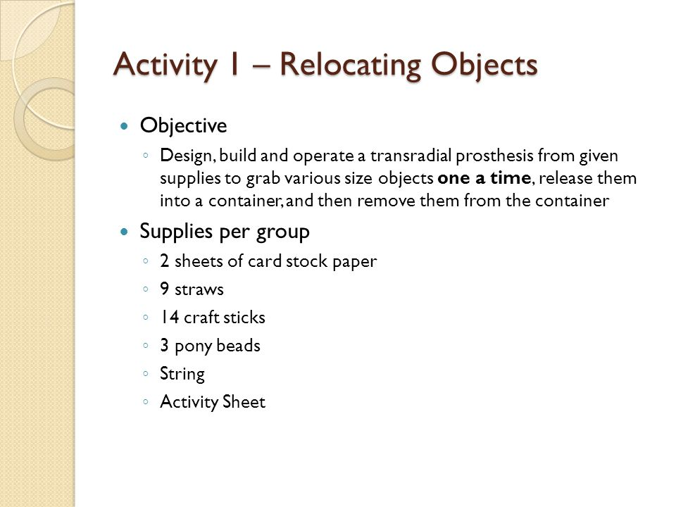 Activity 1 – Relocating Objects