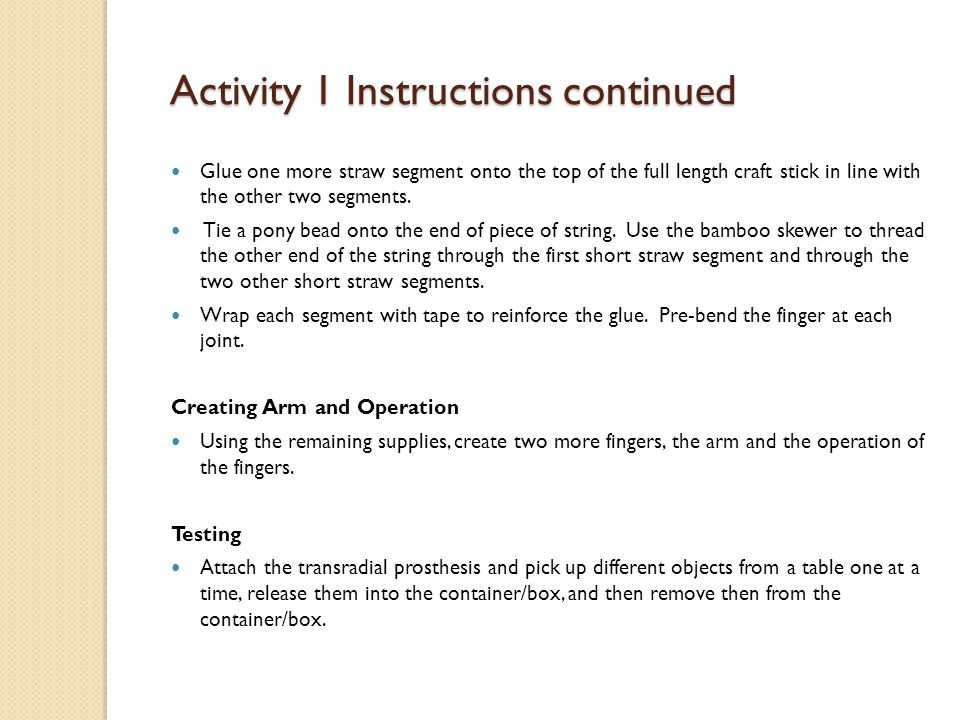 Activity 1 Instructions continued