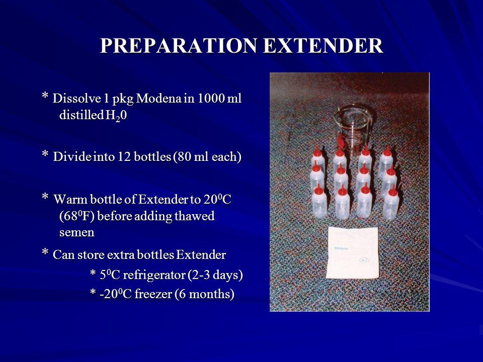PREPARATION EXTENDER * Dissolve 1 pkg Modena in 1000 ml distilled H20