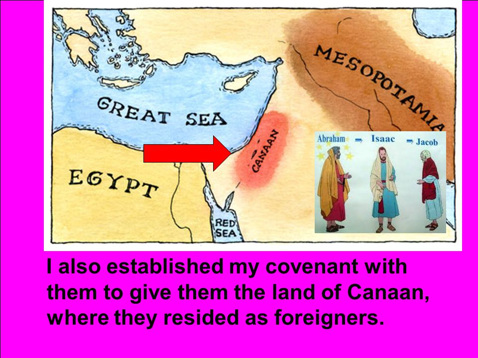I also established my covenant with them to give them the land of Canaan, where they resided as foreigners.