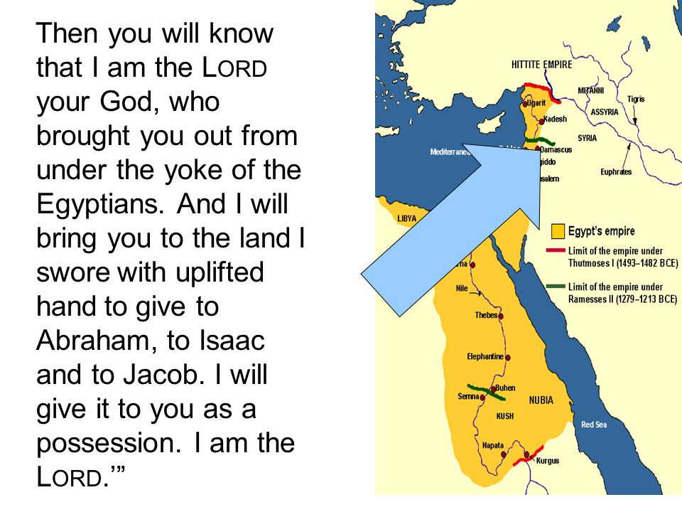 Then you will know that I am the Lord your God, who brought you out from under the yoke of the Egyptians.