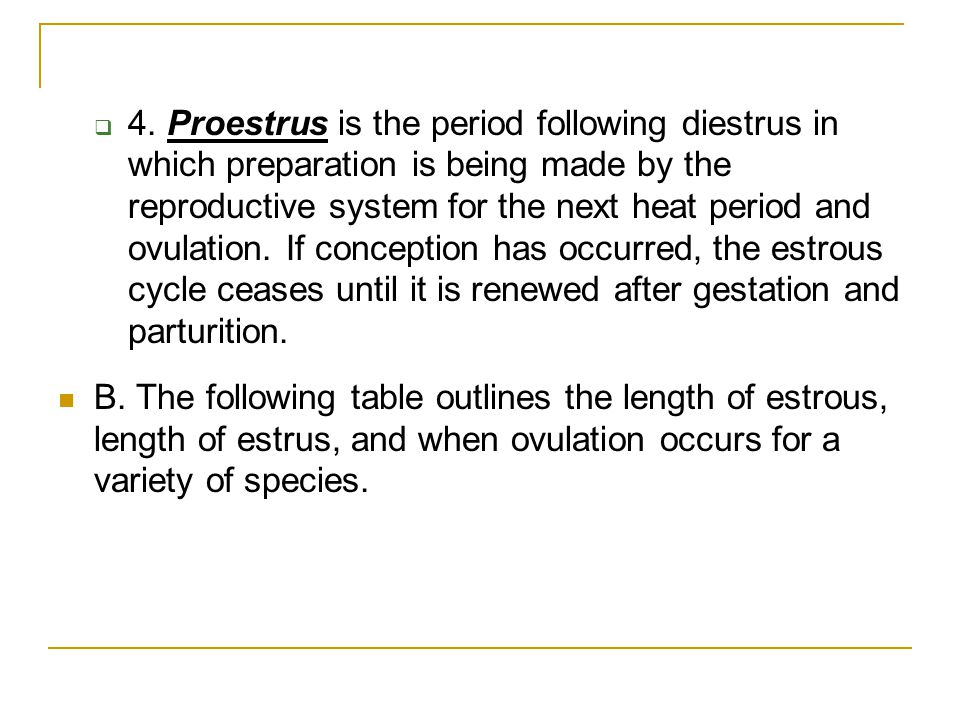 4. Proestrus is the period following diestrus in which preparation is being made by the reproductive system for the next heat period and ovulation. If conception has occurred, the estrous cycle ceases until it is renewed after gestation and parturition.