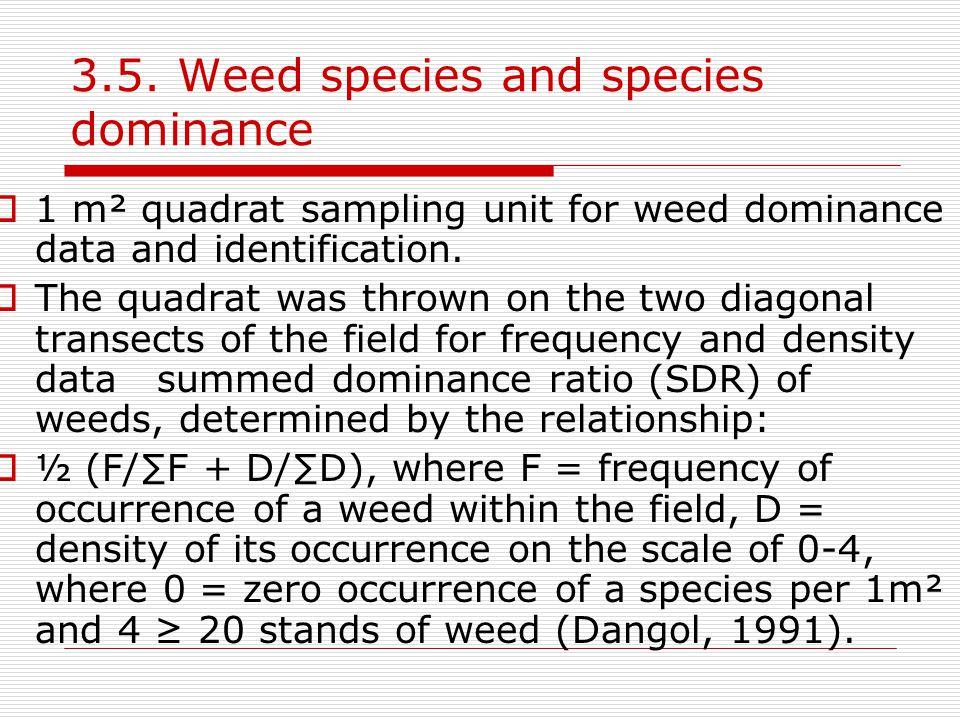 3.5. Weed species and species dominance