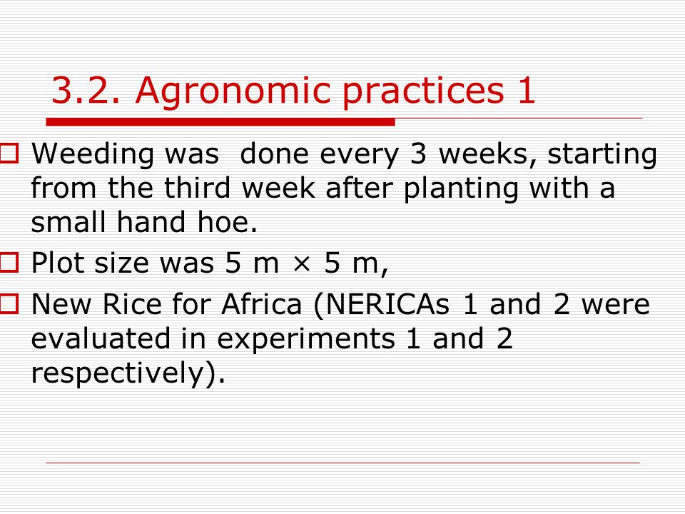 3.2. Agronomic practices 1 Weeding was done every 3 weeks, starting from the third week after planting with a small hand hoe.