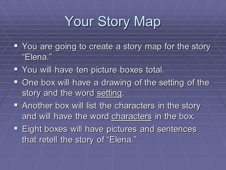 Your Story Map You are going to create a story map for the story Elena. You will have ten picture boxes total.