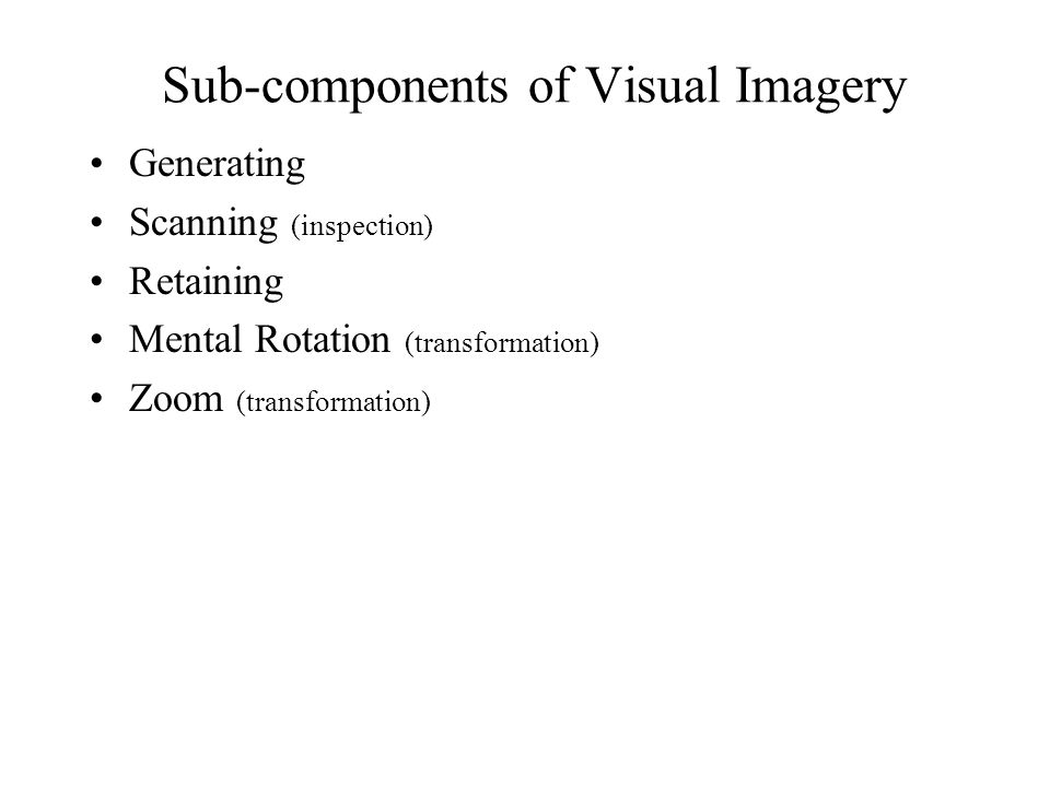 Sub-components of Visual Imagery