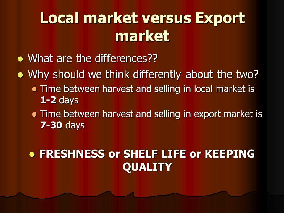 Local market versus Export market