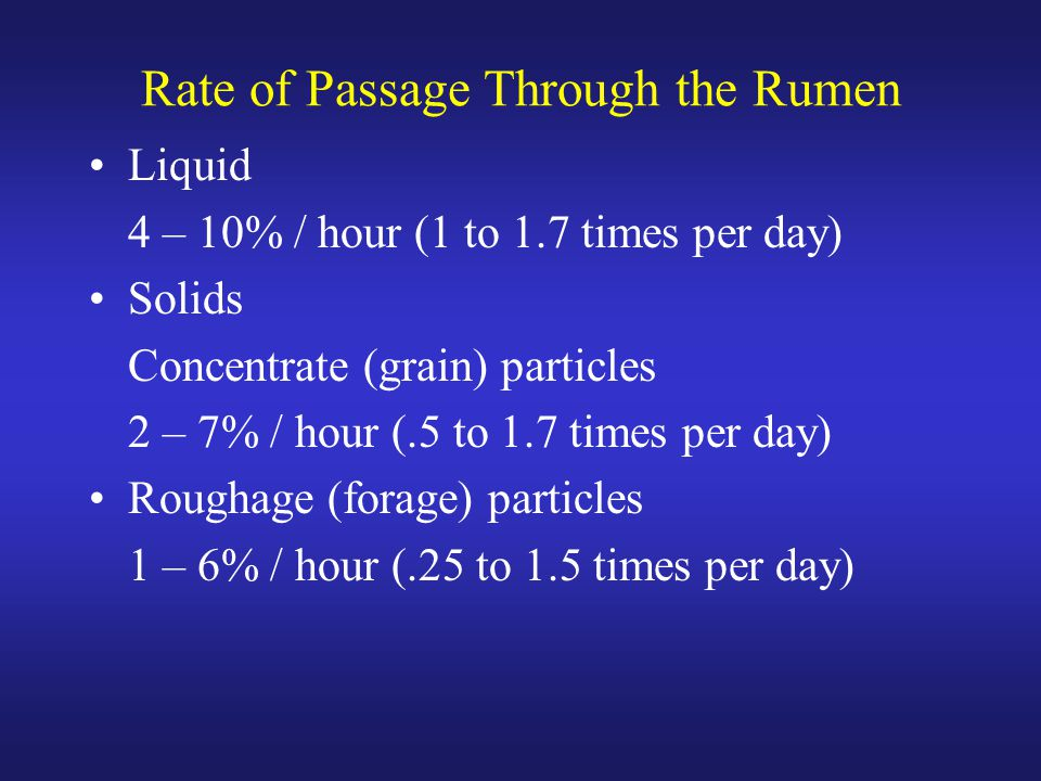 Rate of Passage Through the Rumen