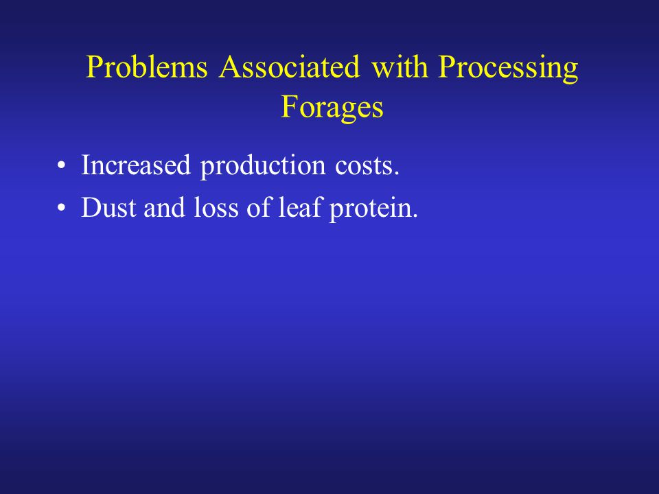 Problems Associated with Processing Forages