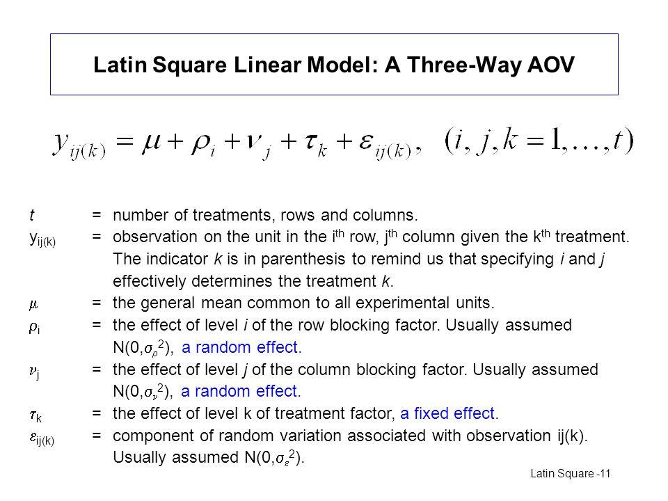 Latin Square Linear Model: A Three-Way AOV