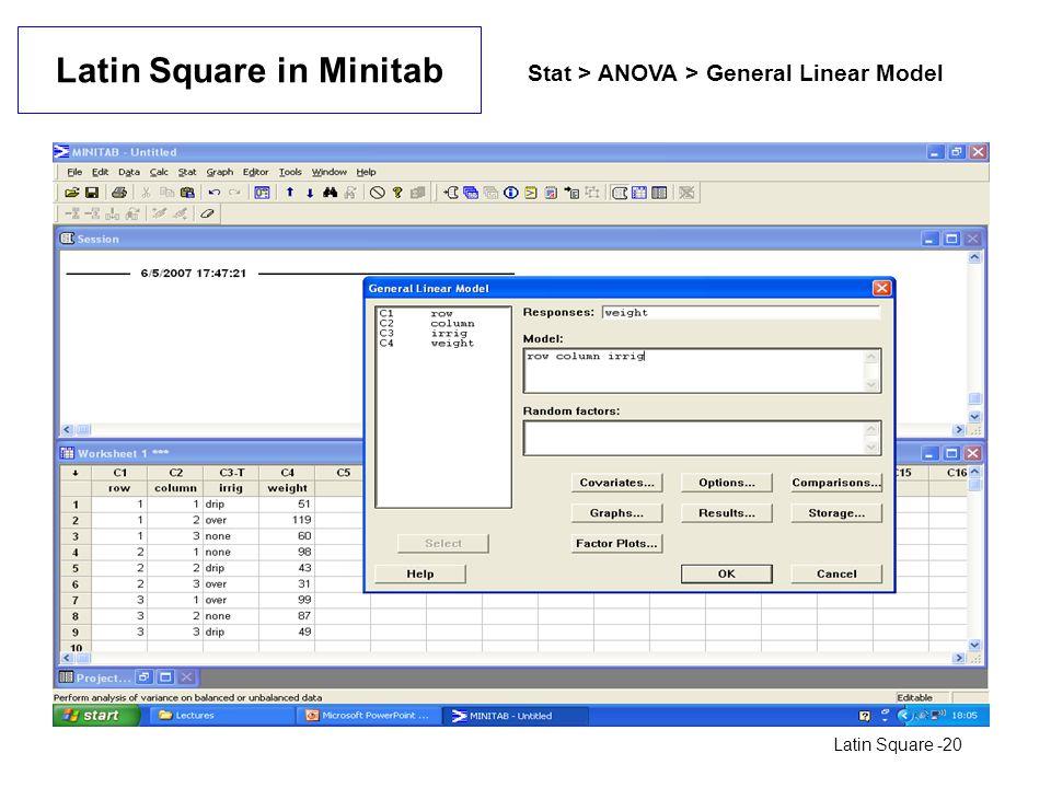 Latin Square in Minitab