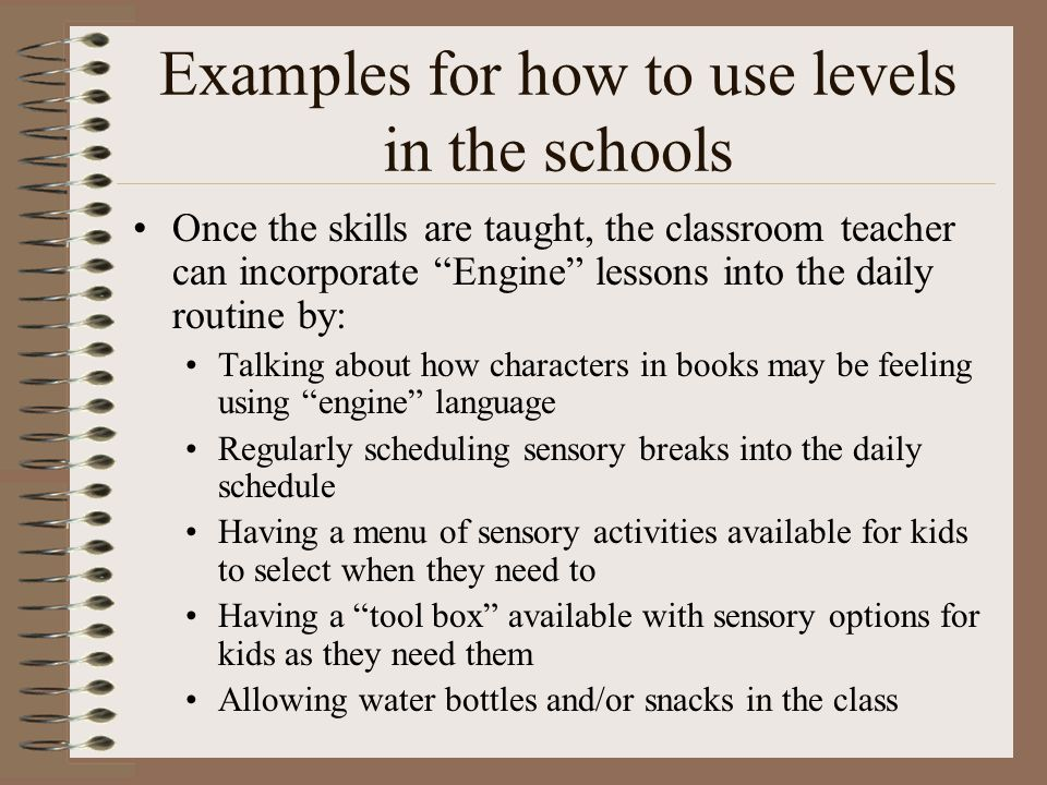 Examples for how to use levels in the schools