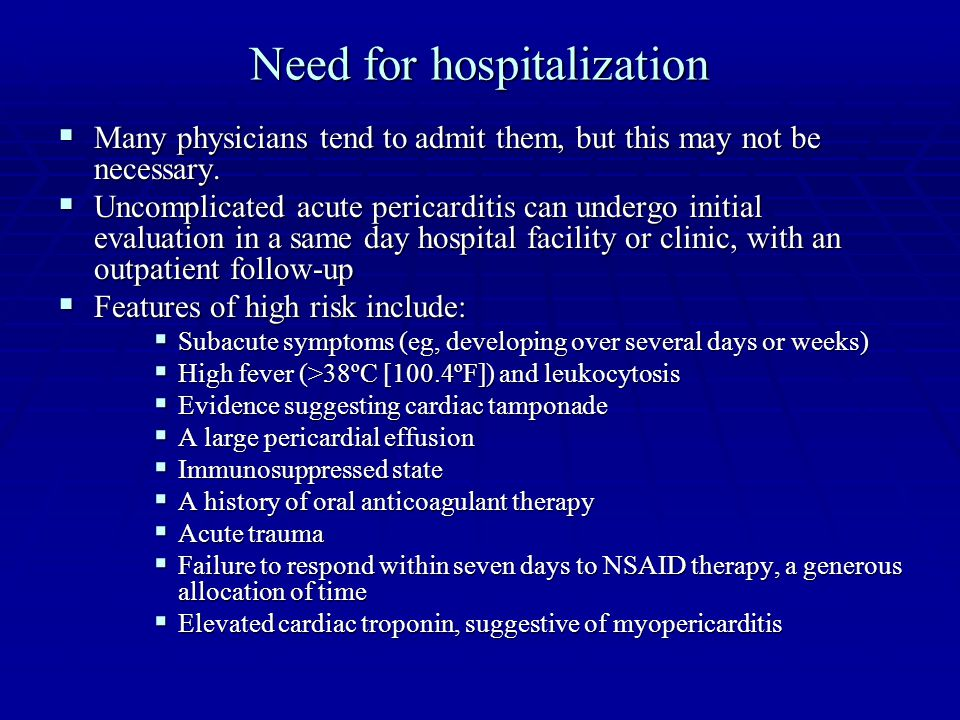 Need for hospitalization