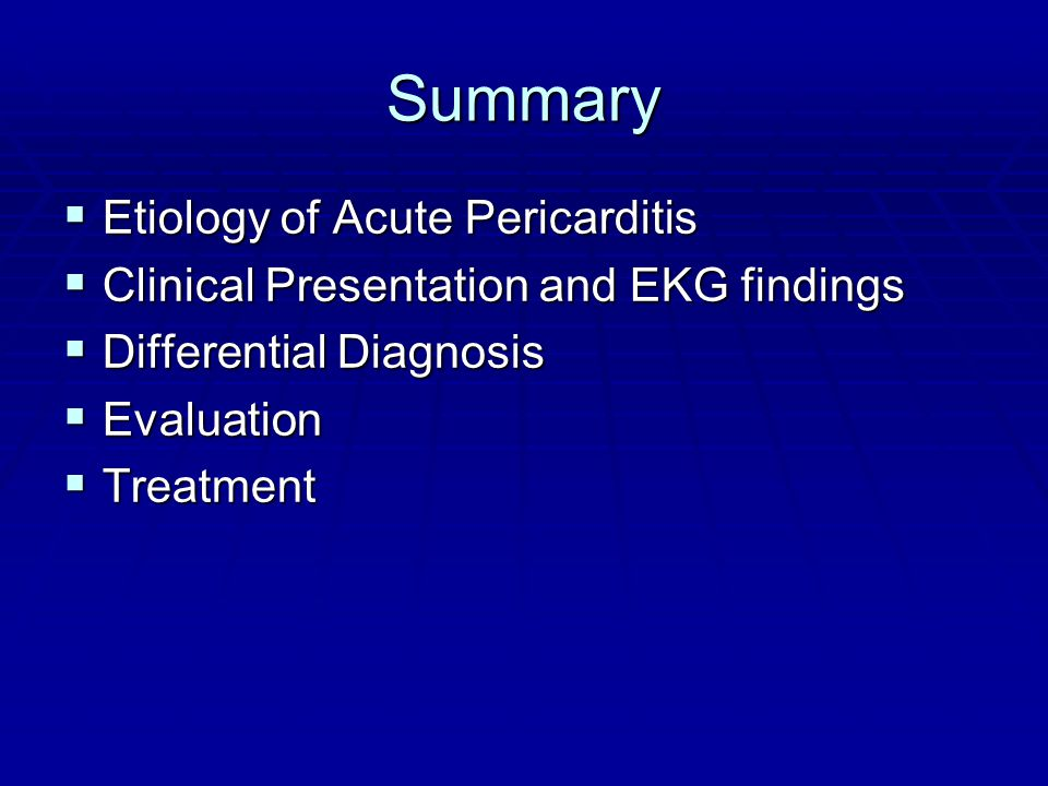 Summary Etiology of Acute Pericarditis