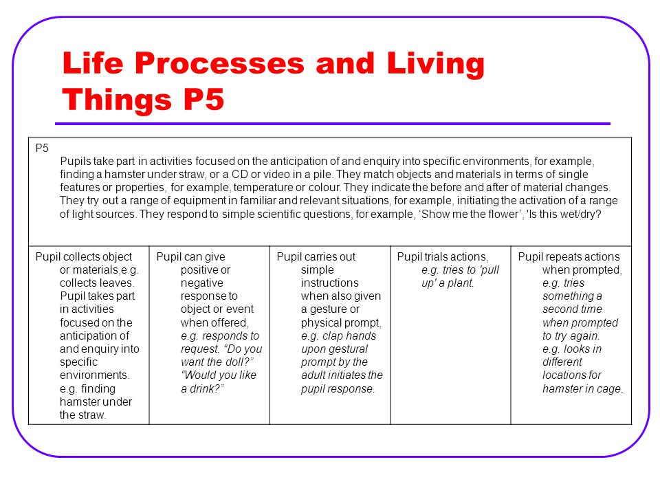 Life Processes and Living Things P5