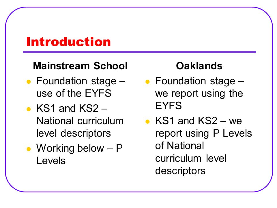 Introduction Mainstream School Foundation stage – use of the EYFS