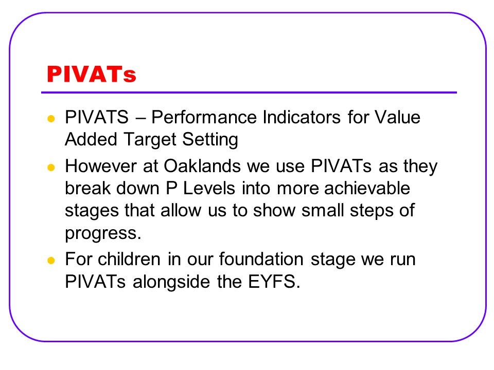 PIVATs PIVATS – Performance Indicators for Value Added Target Setting