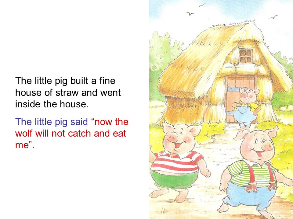 The little pig built a fine house of straw and went inside the house.