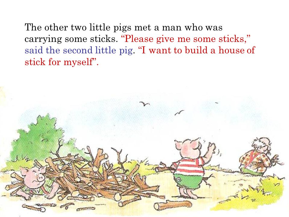 The other two little pigs met a man who was carrying some sticks