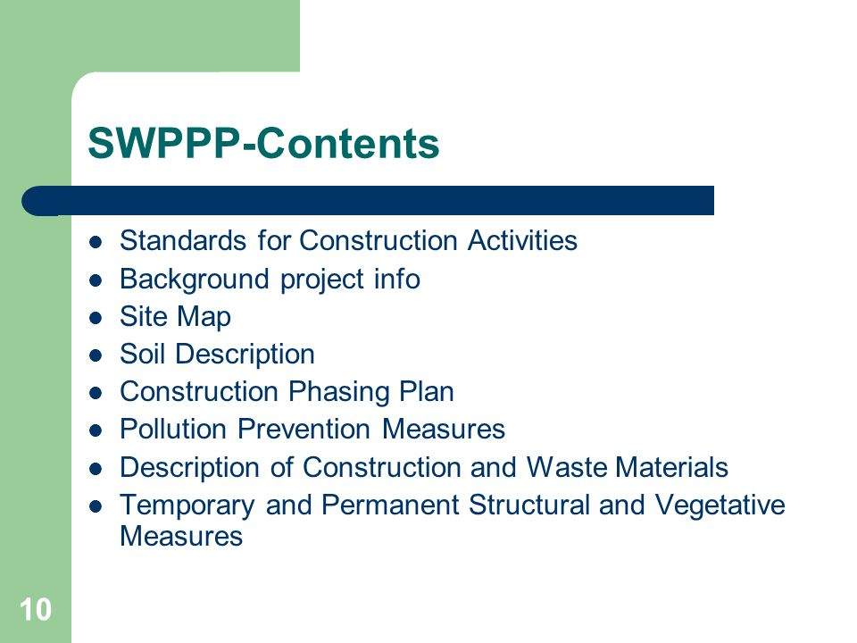 SWPPP-Contents Standards for Construction Activities