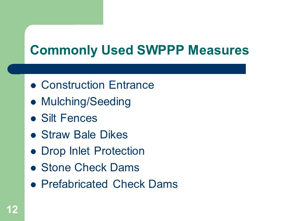 Commonly Used SWPPP Measures