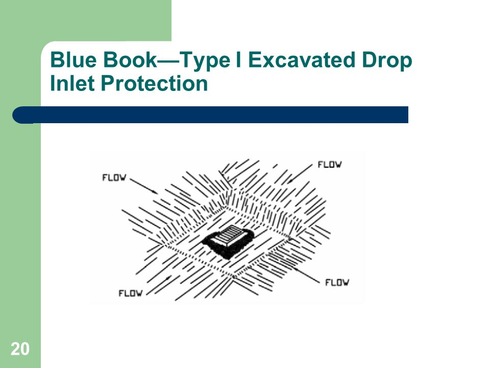 Blue Book—Type I Excavated Drop Inlet Protection