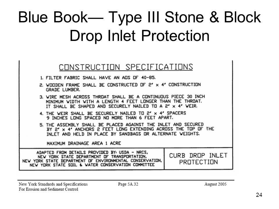 Blue Book— Type III Stone & Block Drop Inlet Protection