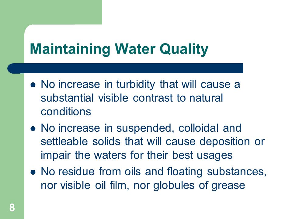 Maintaining Water Quality