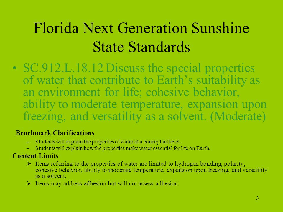 Florida Next Generation Sunshine State Standards
