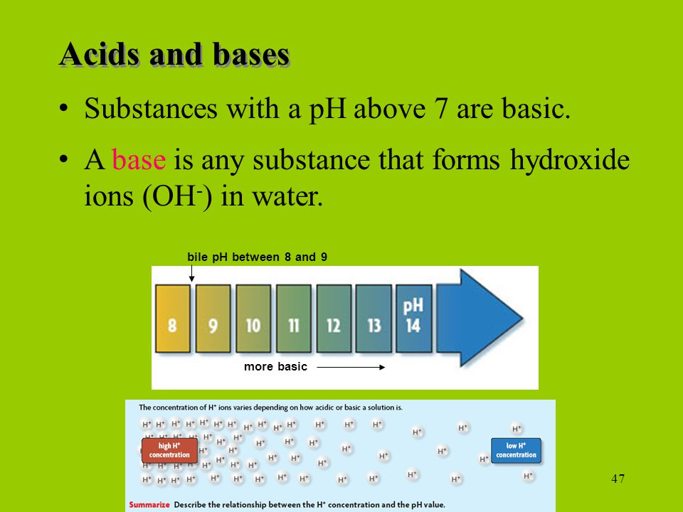 Acids and bases Substances with a pH above 7 are basic.
