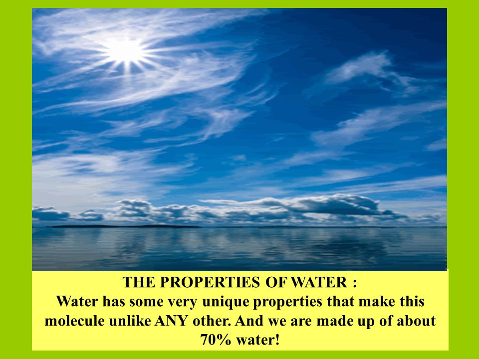 THE PROPERTIES OF WATER :