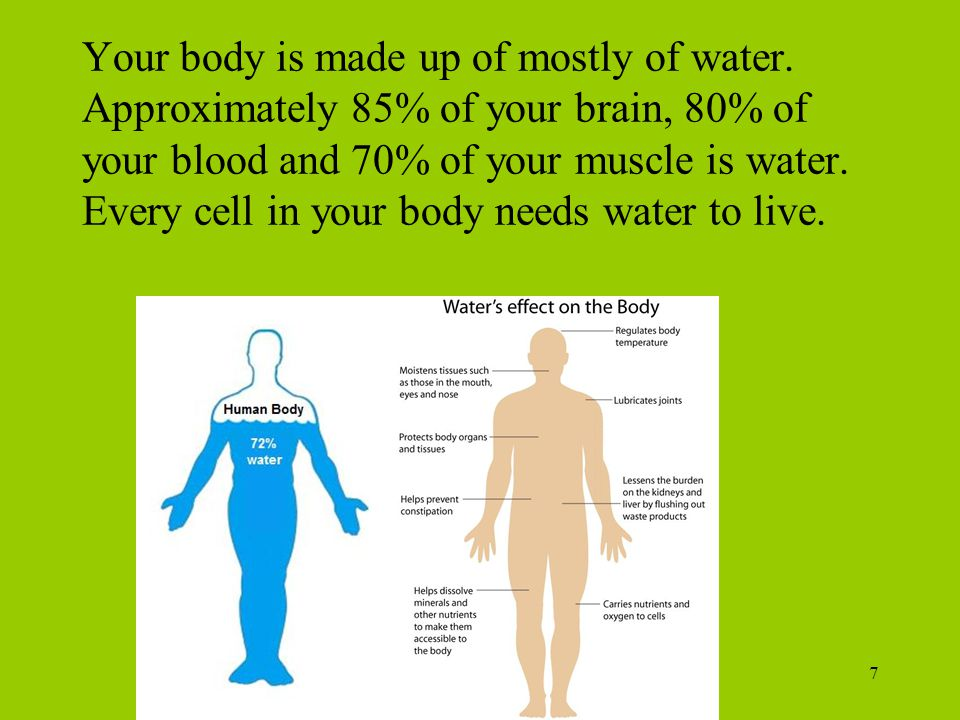 Your body is made up of mostly of water