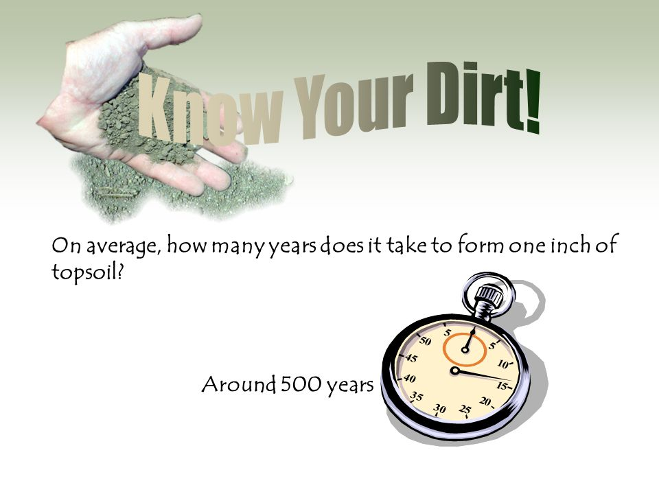 Know Your Dirt. On average, how many years does it take to form one inch of topsoil.