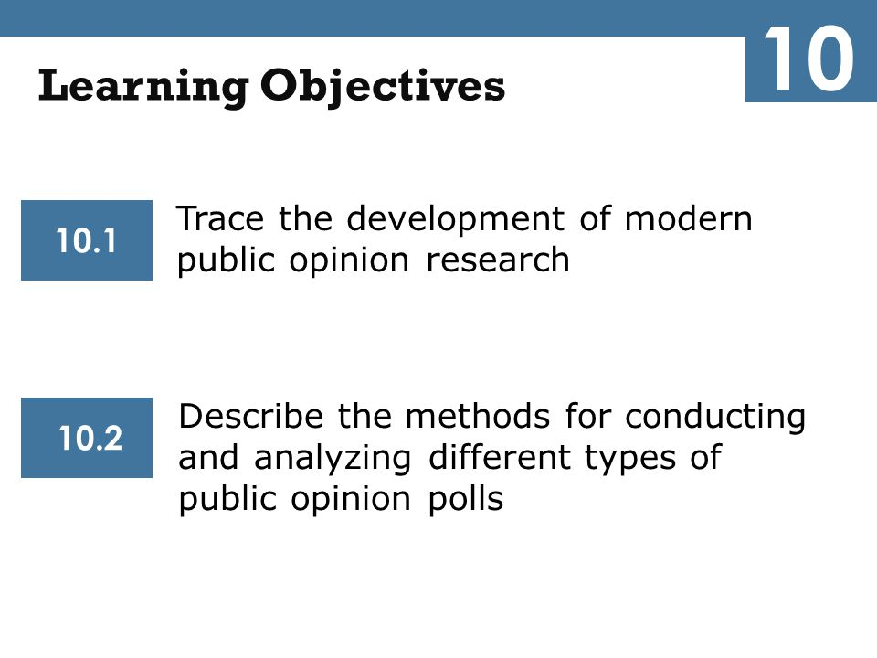 10 Learning Objectives. Trace the development of modern public opinion research. 10.1.