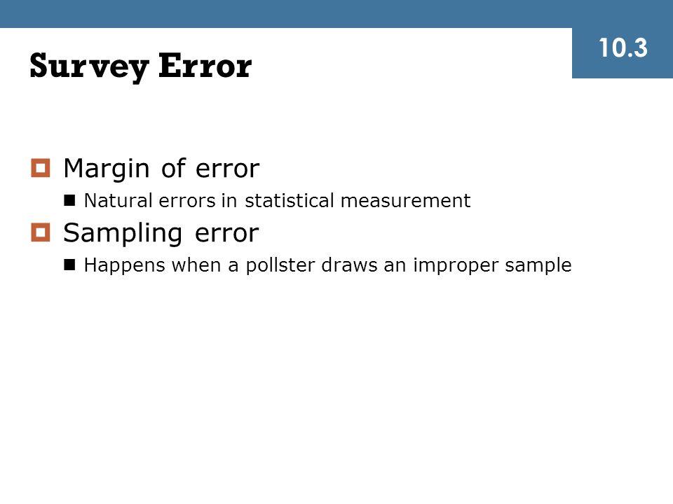 Survey Error 10.3 Margin of error Sampling error