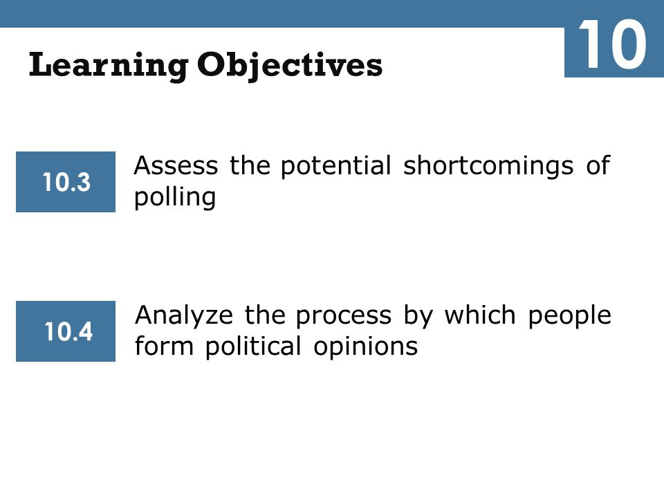 10 Learning Objectives Assess the potential shortcomings of polling