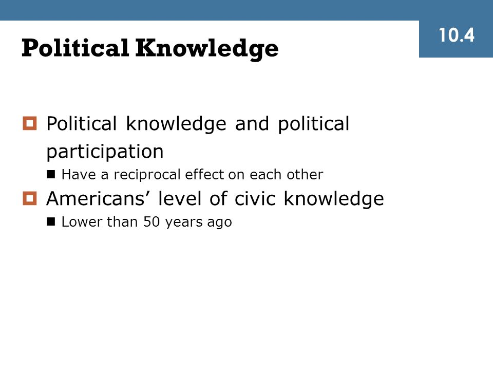 10.4 Political Knowledge. Political knowledge and political participation. Have a reciprocal effect on each other.