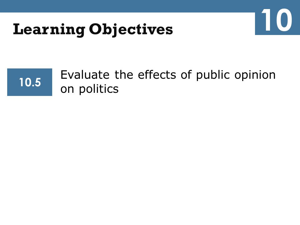 10 Learning Objectives Evaluate the effects of public opinion on politics 10.5