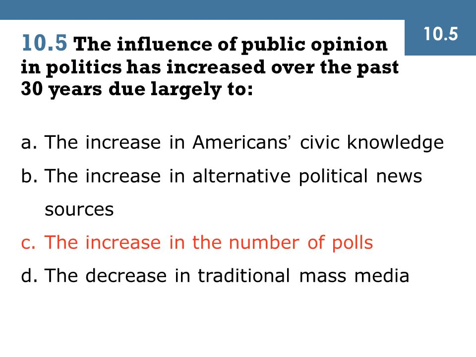 10.5 10.5 The influence of public opinion in politics has increased over the past 30 years due largely to: