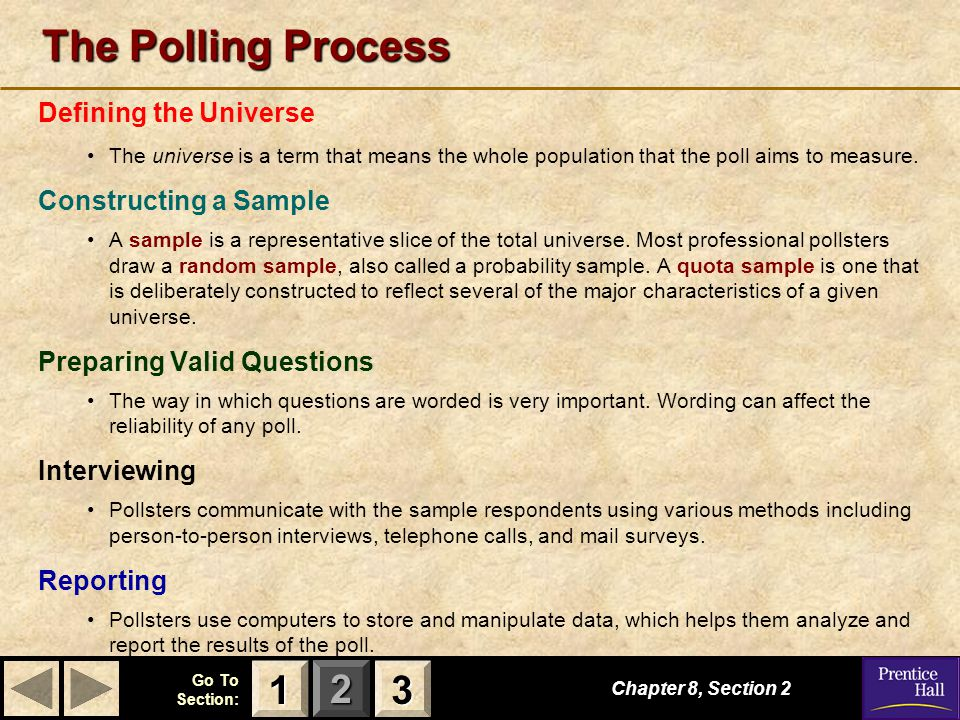 The Polling Process 1 3 Defining the Universe Constructing a Sample