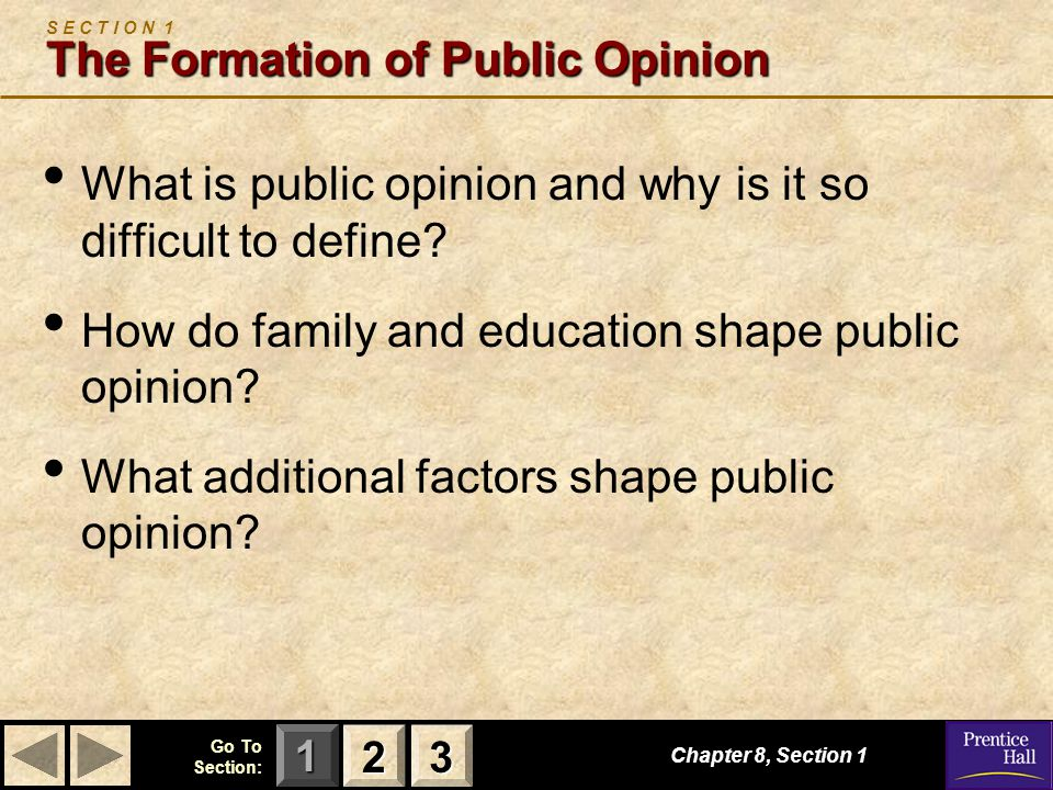S E C T I O N 1 The Formation of Public Opinion