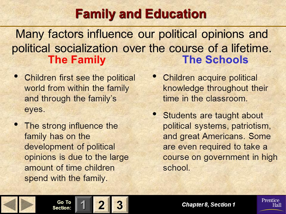 Family and Education Many factors influence our political opinions and political socialization over the course of a lifetime.