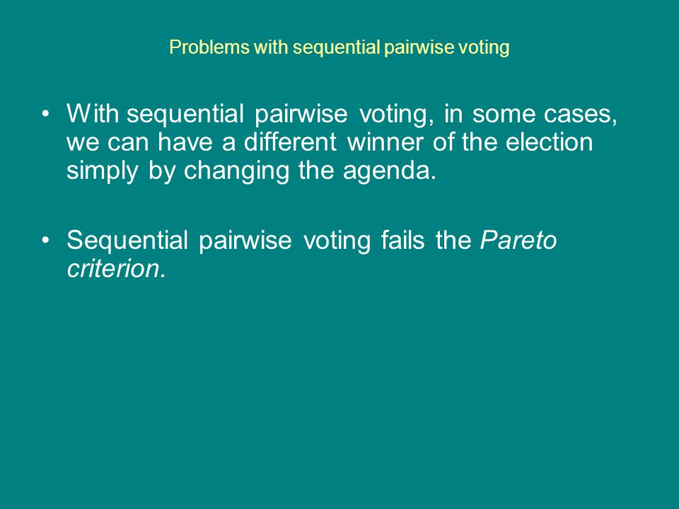 Problems with sequential pairwise voting