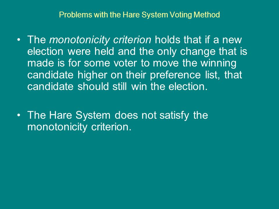 Problems with the Hare System Voting Method