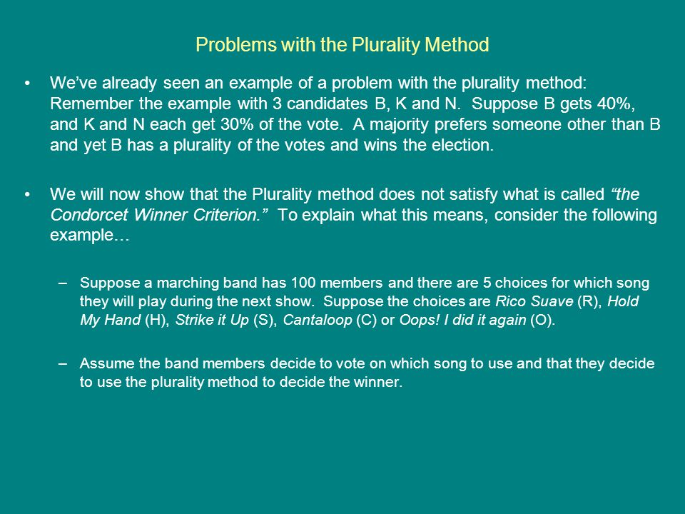 Problems with the Plurality Method